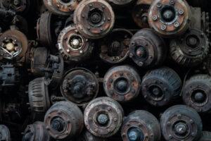 Hjuldele i bunke ved autoophugning